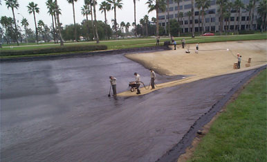 United Storm Water field crew on-site performing a new lake liner installation