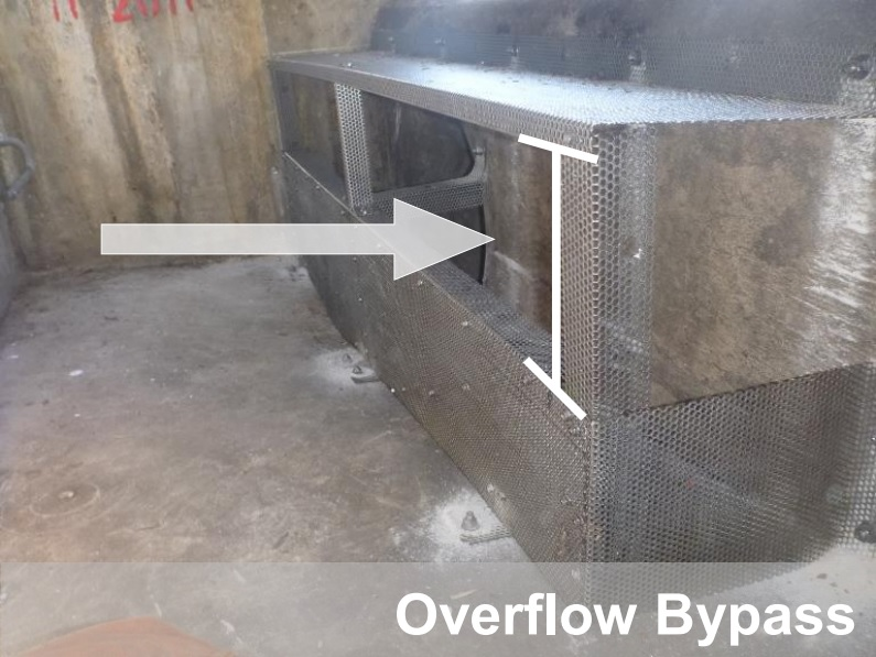 Overflow bypass on a connector pipe screen unit