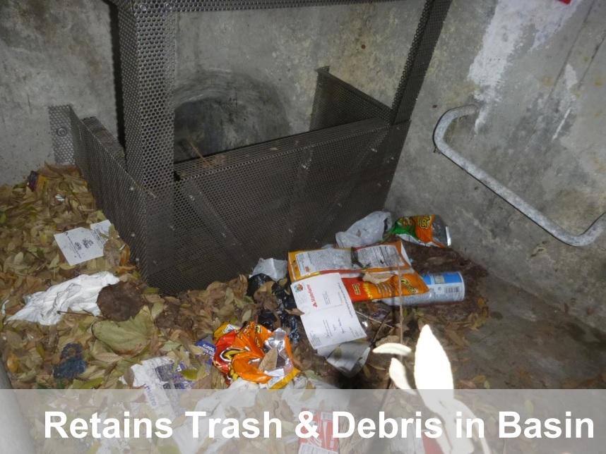 CPS units retain trash & debris in basin