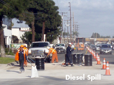 United field crew on-site for emergency diesel spill response