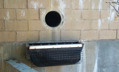 DrainPac™ storm drain filter on wall