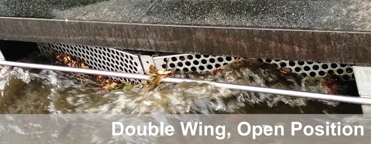 Double-wing Wing-Gate™ automatic retractable screen cover in open position