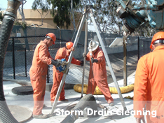 United Storm Water on-site to perform storm drain cleaning service